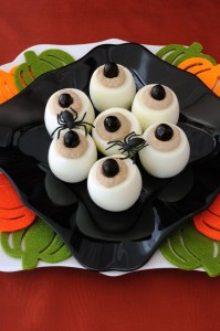 15306325 - eggs stuffed with pate as eyes for halloween